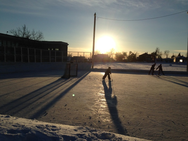 Last night of outdoor puck on the Range, 2015.  Photo credit JT Haines